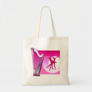 Harp and Dancers Pink Version Graphic Image Tote Bag