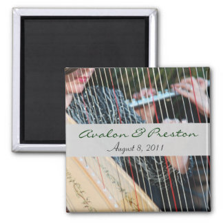 Harp & Flute Music Wedding Save The Date Magnet