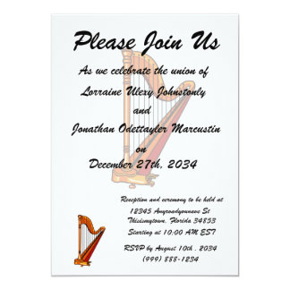 "harp graphic pedal.png 5"" x 7"" invitation card"