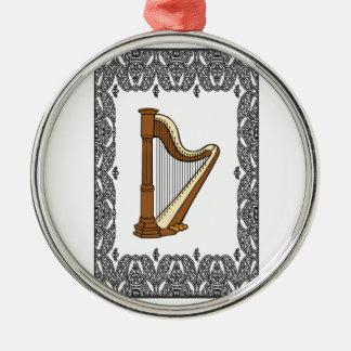 harp in a rectangle metal ornament