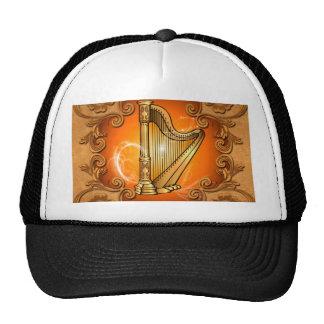 Harp in gold with elegant damasks mesh hat