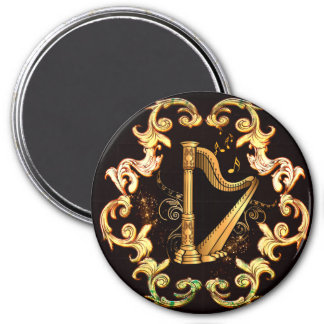 Harp in golden color 3 inch round magnet
