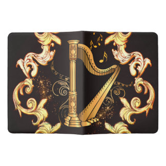 Harp in golden color extra large moleskine notebook cover with notebook