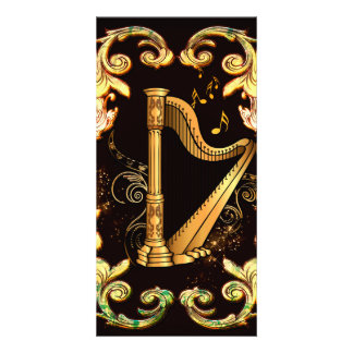 Harp in golden color photo card