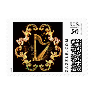 Harp in golden color postage