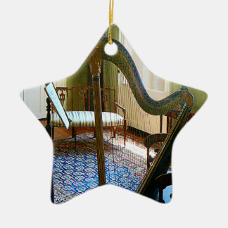 Harp in Living Room Double-Sided Star Ceramic Christmas Ornament