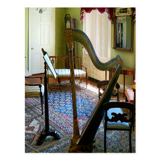 Harp in Living Room Postcard