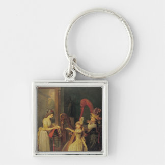 Harp lesson given by Madame de Genlis Keychains