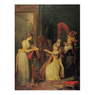 Harp lesson given by Madame de Genlis Postcard