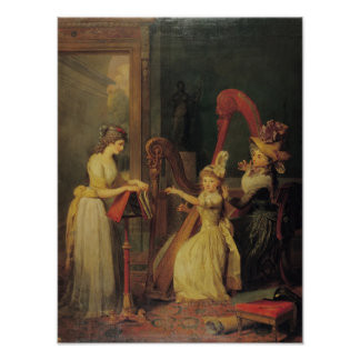 Harp lesson given by Madame de Genlis Poster
