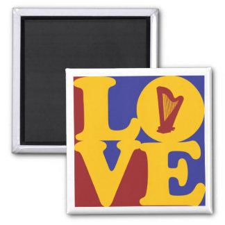 Harp Love 2 Inch Square Magnet