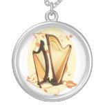 Harp Love Neckland Round Pendant Necklace