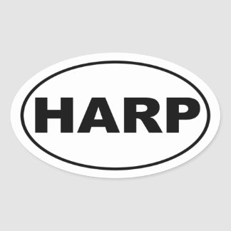 Harp Music Lover Oval Sticker