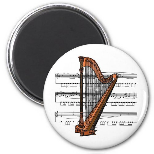 Musical Harp over Sheet Music Round Magnet