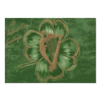 Harp of Erin Four Leaf Clover Green Card