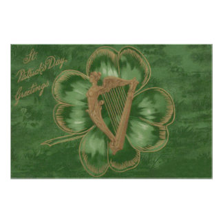 Harp of Erin Four Leaf Clover Green Photo Print