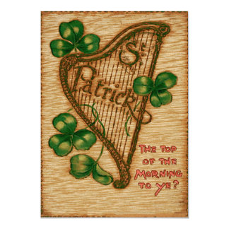 Harp of Erin Shamrock Top of The Morning Card