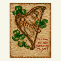 Harp of Erin Shamrock Top of The Morning Postcard
