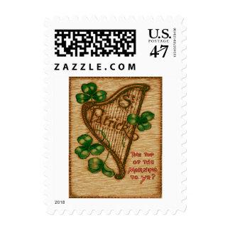 Harp of Erin Shamrock Top of The Morning Stamp