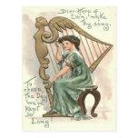 Harp of Erin Victorian Girl Postcard