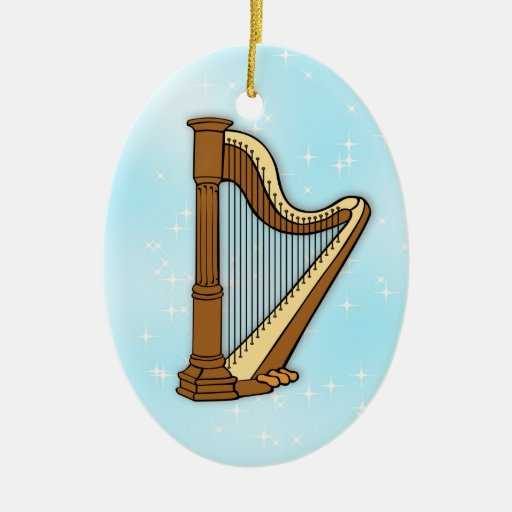 Harp on Blue Ceramic Photo Christmas Ornament