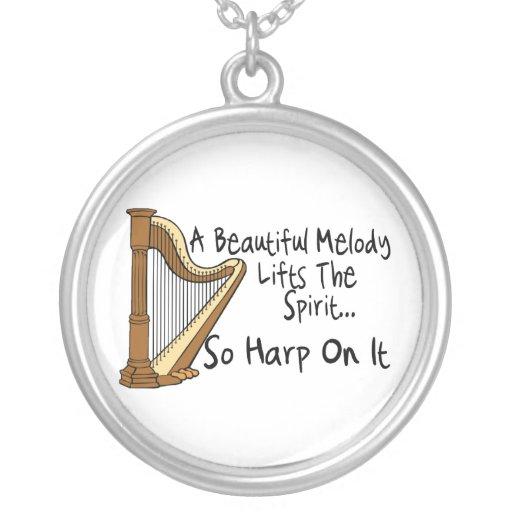 Harp On It Round Pendant Necklace
