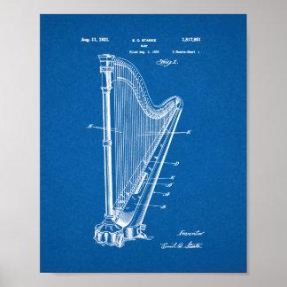 Harp Patent - Blueprint Poster