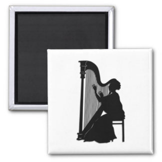 Harp Player 2 Inch Square Magnet