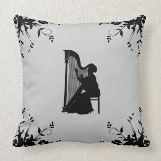 Harp Player Decorative Throw Pillow