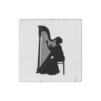 Harp Player Stone Magnet