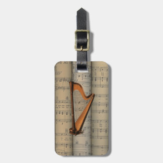 Harp ~ Rolled Sheet Music Background ~ Musical Luggage Tag