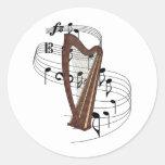 Harp Round Stickers