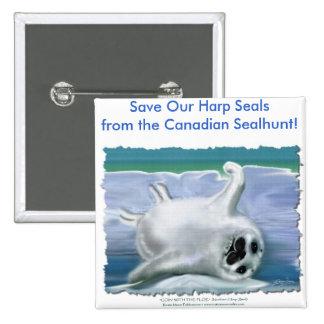 HARP SEAL BABY PINBACK BUTTON
