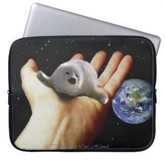 Harp Seal Pup, Hand and Planet Earth Laptop Computer Sleeve