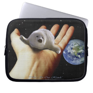 Harp Seal Pup, Hand and Planet Earth Computer Sleeves