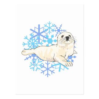 HARP SEAL SNOWFLAKES POST CARD