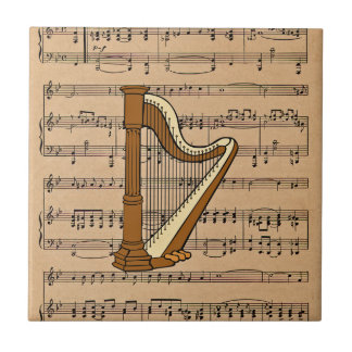 Harp With Sheet Music Background Small Square Tile