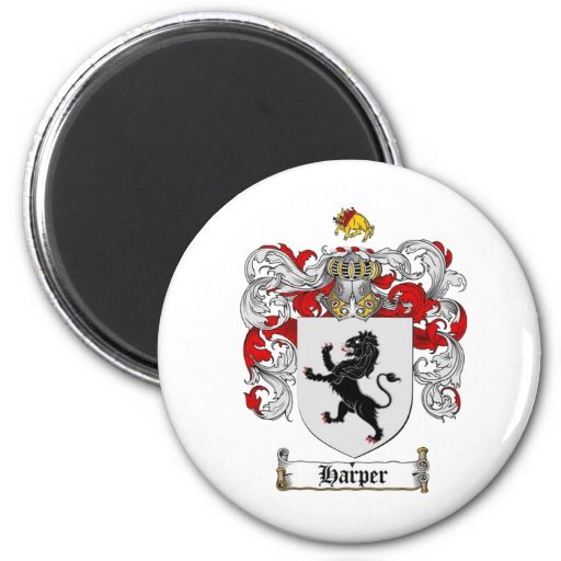 HARPER COAT OF ARMS - harper family crest 2 Inch Round Magnet