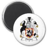 Harper Family Crest 2 Inch Round Magnet