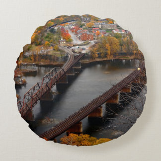 Harpers Ferry in the Fall Round Pillow