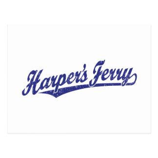 Harper's Ferry script logo in blue distressed Postcard