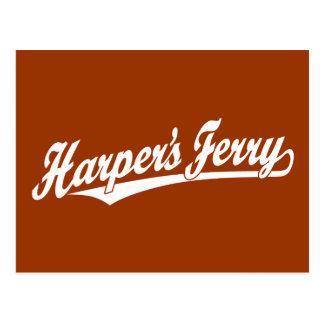 Harper's Ferry script logo in white Postcard