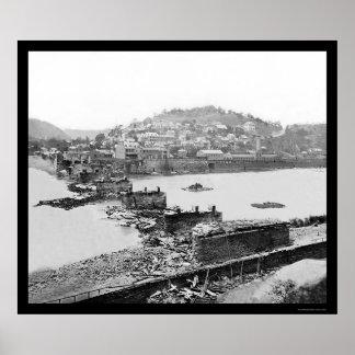 Harpers Ferry, WV Railroad Bridge Ruins 1862 Poster