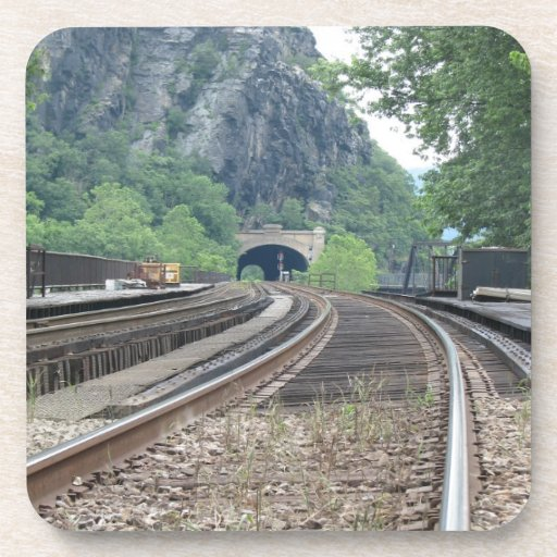Harpers Ferry WV Railroad Tracks Cork Coasters
