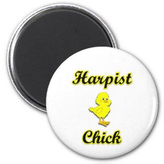 Harpist Chick 2 Inch Round Magnet