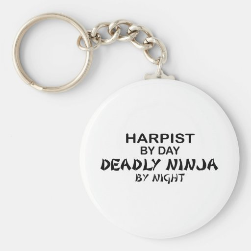 Harpist Deadly Ninja by Night Keychains