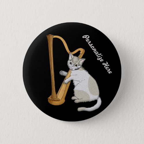Personalized Harpist is a Calico Kitten Standard Round Button