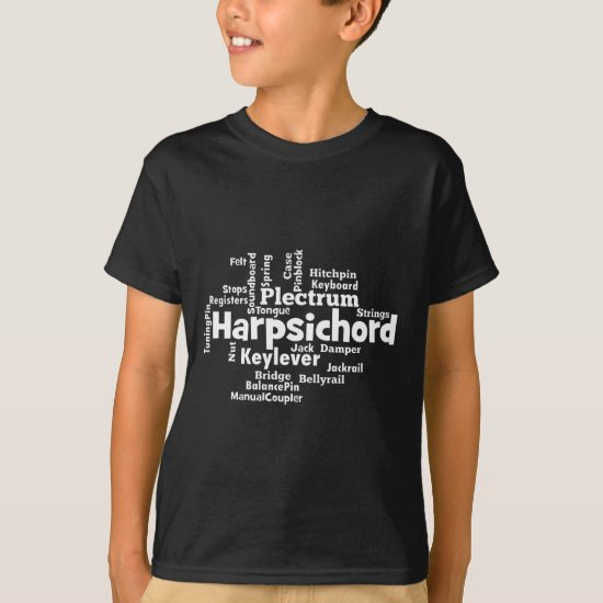Harpsichord Word Cloud T-Shirt