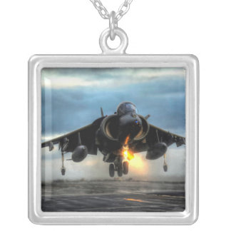 HARRIER AIRCRAFT SILVER PLATED NECKLACE