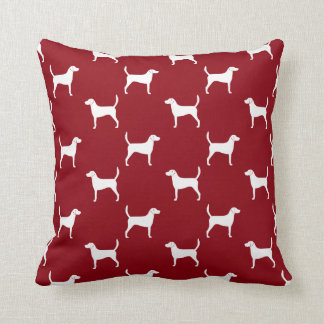 Harrier Dog Silhouettes Pattern Red Throw Pillow